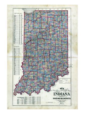 1873, Indiana State Map, Indiana, United States