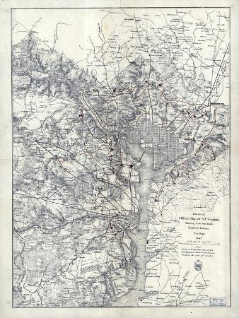 1865, Washington D.C., Civil War, Military Wall Map, District of Columbia, United States