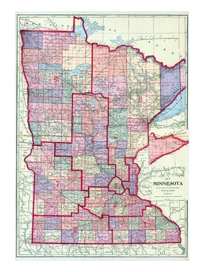 1912, Minnesota State Map, Minnesota, United States Giclee Print at ...