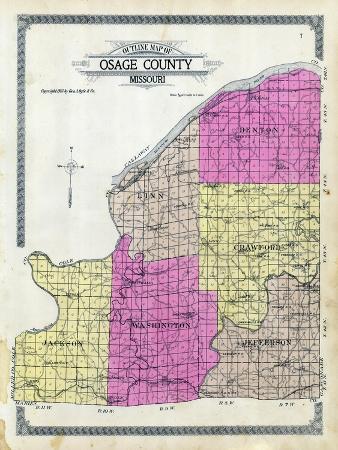 1913, Osage County Outline Map, Missouri, United States