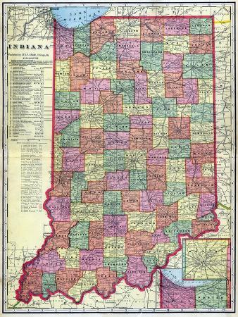 1909, Indiana State Map, Indiana, United States