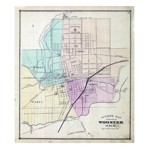 Ohio United States Map.1873 Index Map Wooster City Ohio United States Giclee Print At