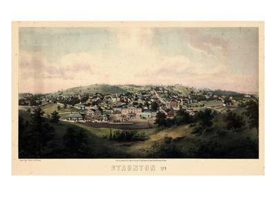 1857, Staunton Bird's Eye View, Virginia, United States