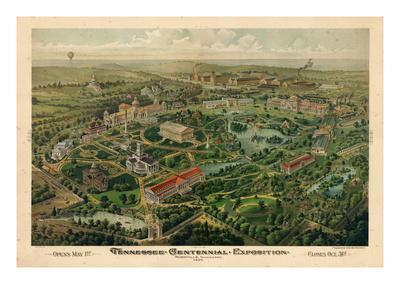 1897, Nashville Bird's Eye View of Centennial Exposition 17x24, Tennessee, United States
