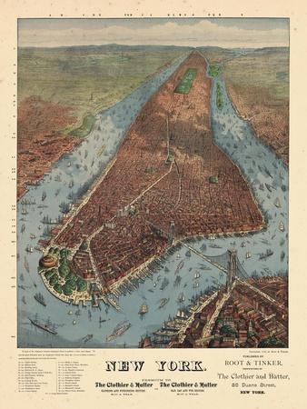 1879, New York City 1879 Bird's Eye View, New York, United States