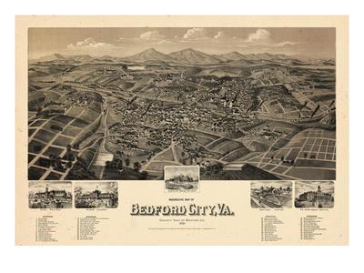 1891, Bedford City Bird's Eye View, Virginia, United States