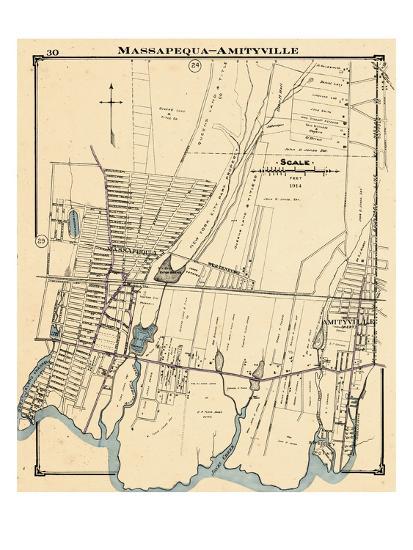 Amityville New York Map.1914 Massapequa Amityville New York United States Giclee Print