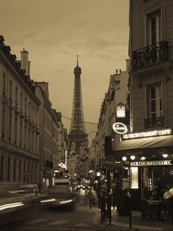 Street with a Tower in the Background at Dusk, Eiffel Tower, Champ De Mars, Paris, Ile-De-France...