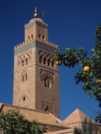 Low Angle View of a Minaret of a Mosque, Koutoubia Mosque, Marrakesh, Morocco
