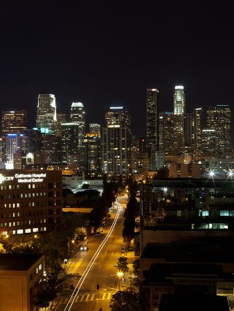 Buildings Lit Up at Night, Los Angeles, California, USA