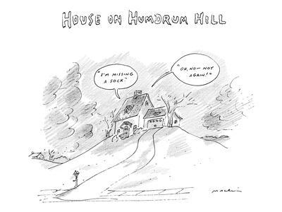 House on Hum-Drum Hill features a plain house atop a hill with thought bub… - New Yorker Cartoon