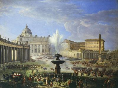 View of St Peter's Square with Military Parade Rome Italy