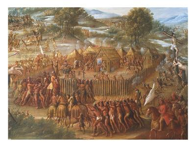 Indian Village, from the Destruction of the San Saba Misson in Texas and the Martyrdom of Fathers