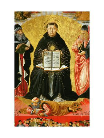 Saint Thomas Aquinas Standing Between Aristotle and Plato and over the Arab Philiosopher Averroes