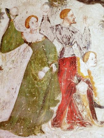 January or Aquarius with Courtiers in Snowball Fight Outside Stenico Castle