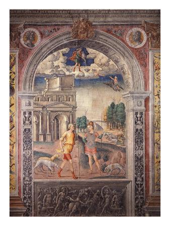 Goddess Diana with Hunter before Lion Gate, Verona, Italy; Above, Zodiac Sign of Sagittarius, 1520