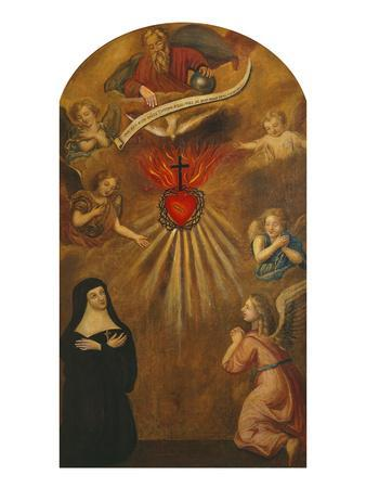 Adoration of the Sacred Heart of Jesus by Margaret Mary Alacocque, 1647-90, and an Angel, 1715