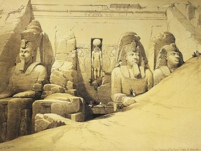 Temple of Abu Simbel, 13th Century Bc, Façade, Egypt, Lithograph, 1838-9