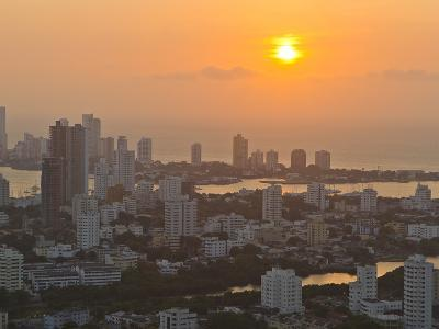 Sunset over the City of Cartagena, Colombia