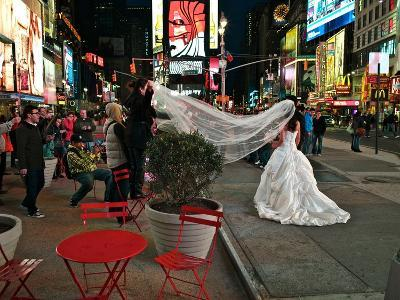 A Wedding in Times Square, New York at Night