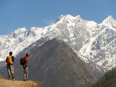 Trekkers in the Tsum Valley Admire Views of the Ganesh Himal Mountains