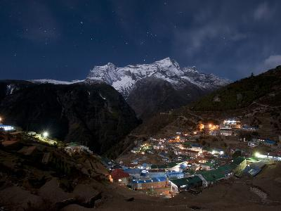 Spectacular Namche Bazaar in the Everest Region Lit-Up at Night