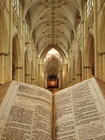 An Open King James Bible in the Gothic Cathedral of York Minster