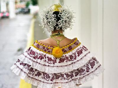 A Young Panamanian Woman Wearing the Traditional Pollera