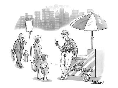 An old man, leaning on a cart that reads Old Chestnuts, talks to a mother … - New Yorker Cartoon
