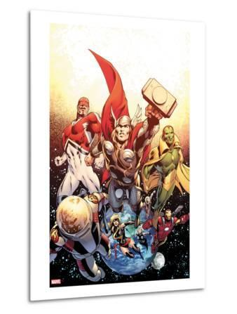 Secret Avengers No.26 Cover: Thor, Captain Britain, Vision, Ms. Marvel, and Beast Flying in Space