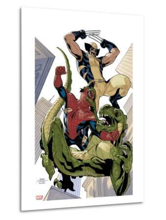 X-Men No.10 Cover: Wolverine and Spider-Man Fighting while Falling
