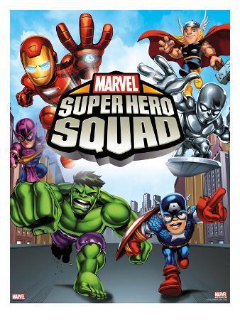 Marvel Super Hero Squad: Iron Man, Thor, Hawkeye, Silver Surfer, Hulk, and Captain America Charging