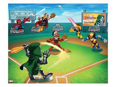 Marvel Super Hero Squad: Spider-Man, Thor, Falcon, Cyclops, Dr. Doom, and Wolverine Jumping