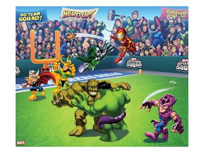 Marvel Super Hero Squad: Thor, Loki, Dr. Doom, Iron Man, Abomination, Hulk, and Hawkeye Throwing