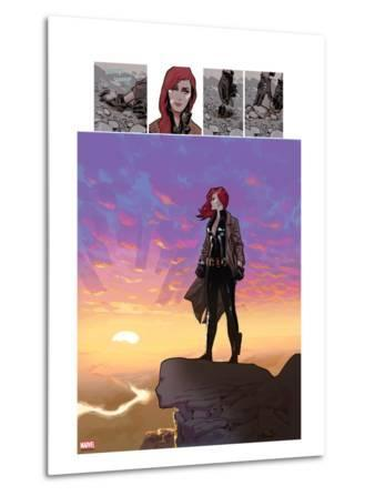 Black Widow No.5: Black Widow Standing on a Cliff in front of a Sunset