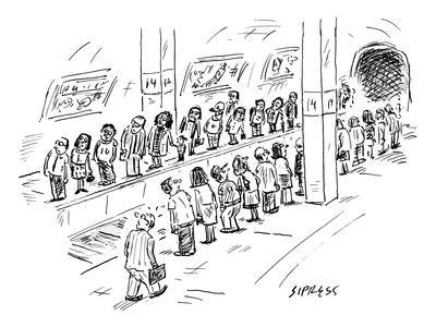 Two lines of people await the subway, which seems to be going both uptown … - New Yorker Cartoon