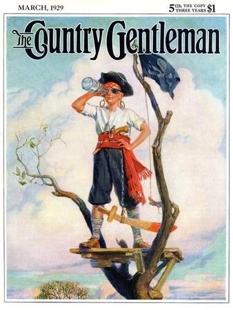 """""""Playing Pirate,"""" Country Gentleman Cover, March 1, 1929"""