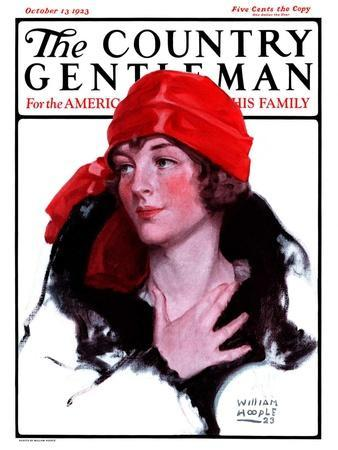 """Woman in Fur and Red Hat,"" Country Gentleman Cover, October 13, 1923"