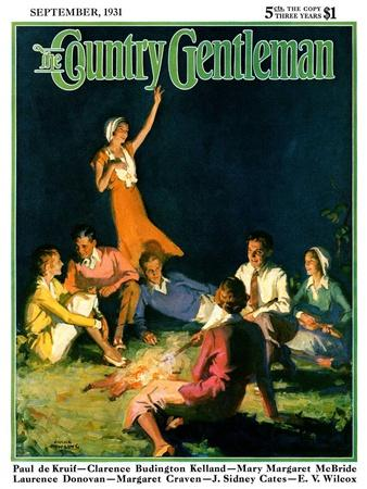 """Couples by Bonfire,"" Country Gentleman Cover, September 1, 1931"