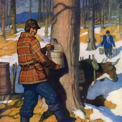 """Gathering Maple Syrup,""March 1, 1927"