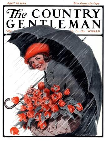 """""""April Showers and Basket of Flowers,"""" Country Gentleman Cover, April 26, 1924"""
