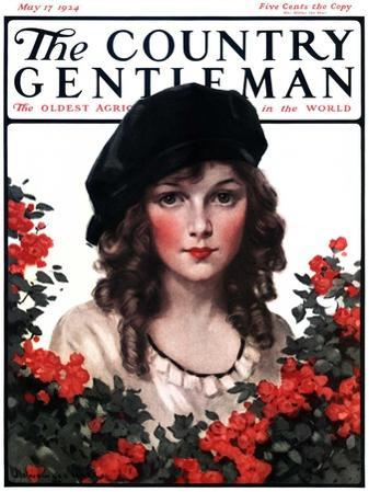 """""""Young Woman and Flowers,"""" Country Gentleman Cover, May 17, 1924"""
