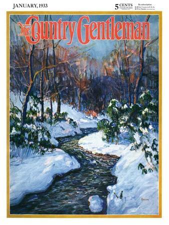 """""""Stream in Snowy Woods,"""" Country Gentleman Cover, January 1, 1933"""