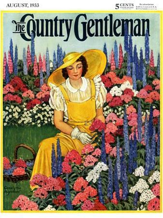 """""""Cutting Flowers from Her Garden,"""" Country Gentleman Cover, August 1, 1933"""
