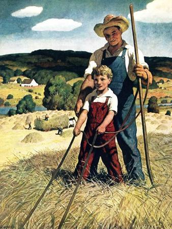"""Father and Son on Hay Wagon,""June 1, 1944"