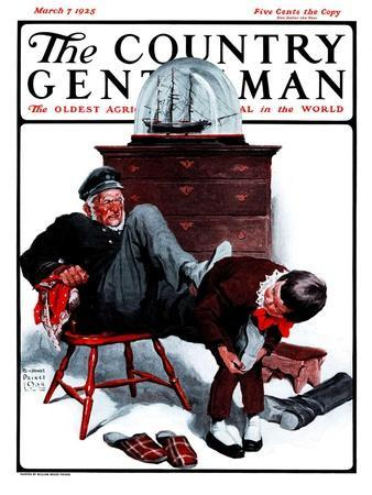 """""""Removing Sailor's Boots,"""" Country Gentleman Cover, March 7, 1925"""