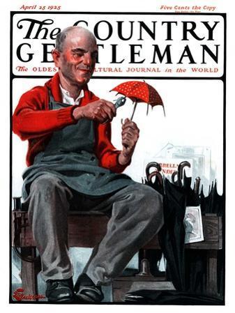 """""""Umbrella Repair Man,"""" Country Gentleman Cover, April 25, 1925"""