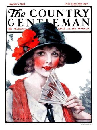 """Woman with Fan,"" Country Gentleman Cover, August 1, 1925"