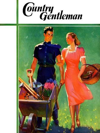 """""""Pushing Her Wheelbarrow,"""" Country Gentleman Cover, April 1, 1938"""