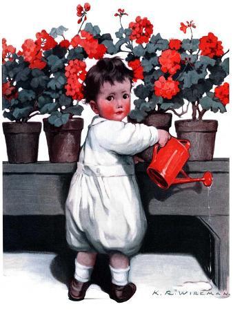 """""""Toddler Watering Geraniums,""""June 28, 1924"""
